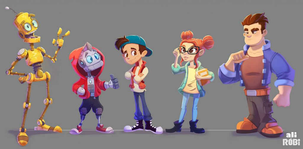 Really Good Character Design - Cute Robot Friends in Modern Style