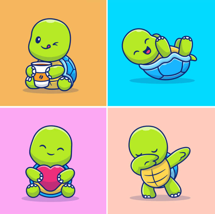Really Good Character Design - Cute and Funny Green Turtle Persona