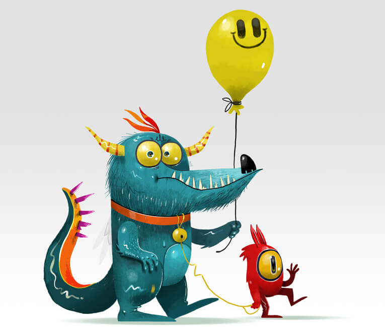 Really Good Character Design - Funny Kid Monster Couple