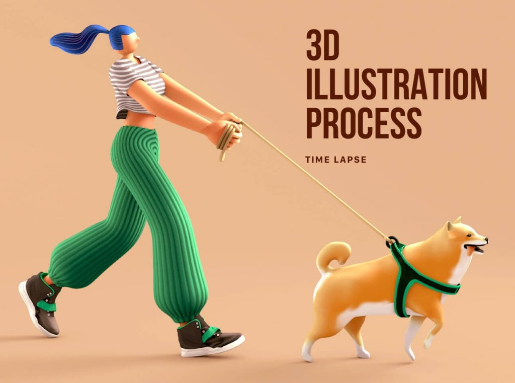 Really Good Character Design - 3D Woman and 3D Dog