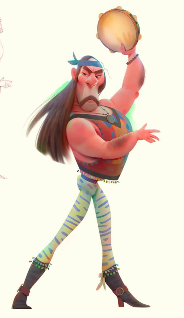 Really Good Character Design Example - Funny Long Hair Man Character