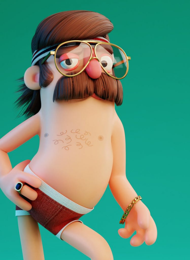 Really Good Character Design Example - Funny Man with Moustache