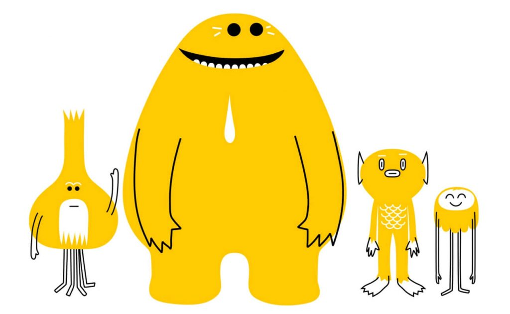 Really Good Character Design - Yellow Cartoon Characters from shapes