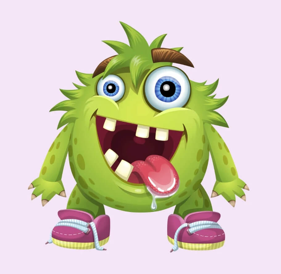 Really Good Character Design - Green Funny Monster Character Example