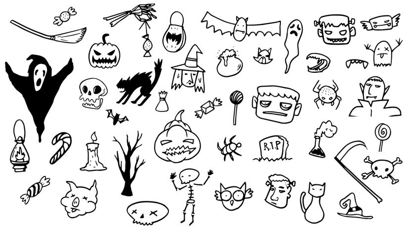 Free Halloween Doodle Set