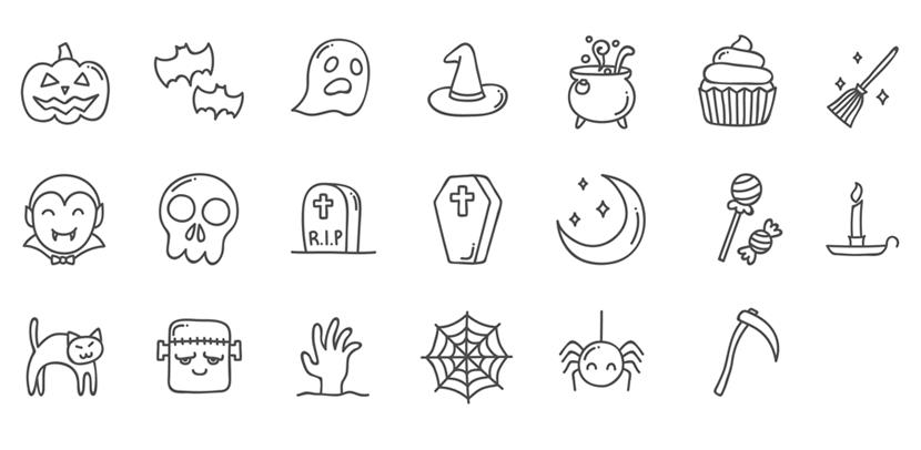 Free Hand-Drawn Halloween Icons Set