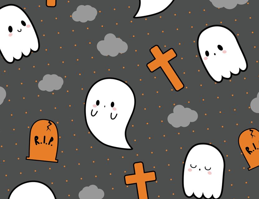 Free Cute Little Ghost Doodles - Halloween Pattern