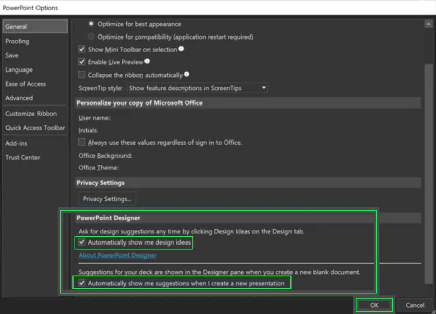 Design Ideas PowerPoint Guide: Enable on Windows